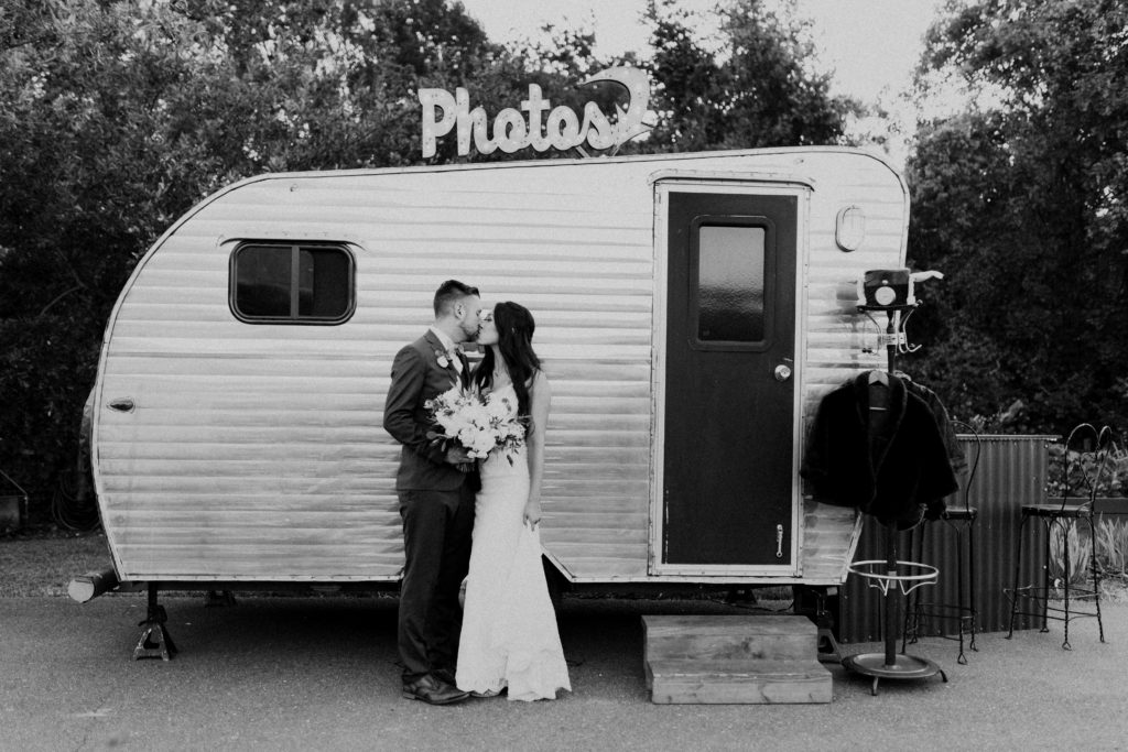 Creating a fun party at your wedding with a vintage trailer photo booth