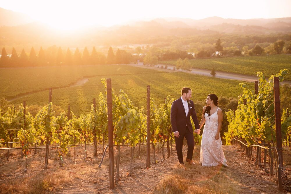 Wine Country Wedding Couple walking between the vines up a hillside at sunset