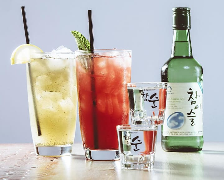 mixed drinks made with soju