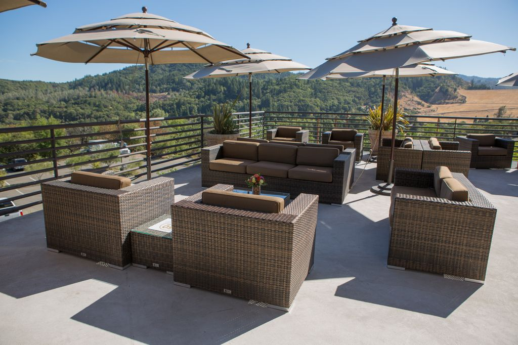 Lounge furniture seating overlooking the view at Sbragia Winery